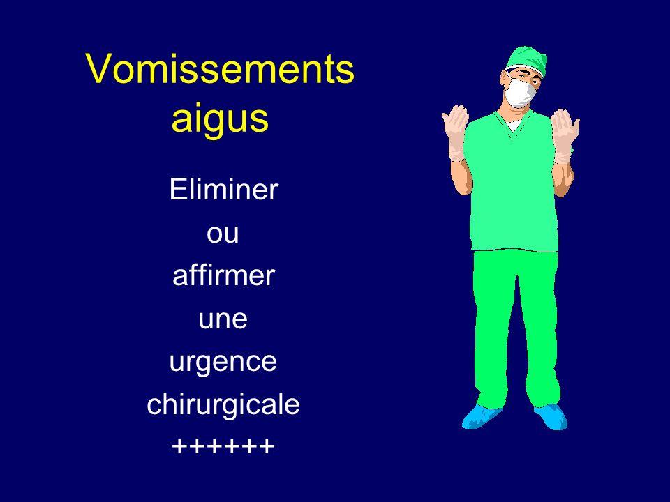 Vomissements aigus Eliminer ou affirmer une urgence chirurgicale