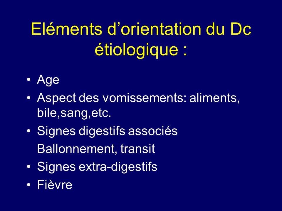 Eléments d'orientation du Dc étiologique :