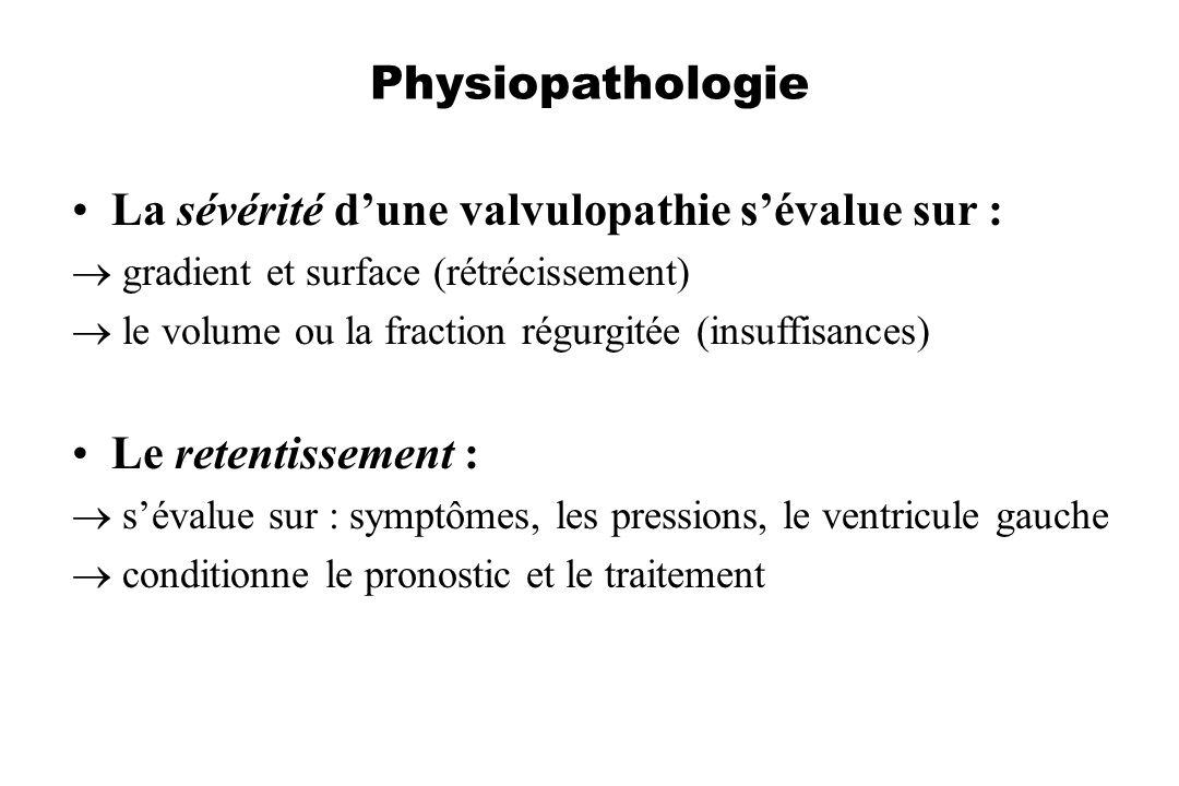 La sévérité d'une valvulopathie s'évalue sur :