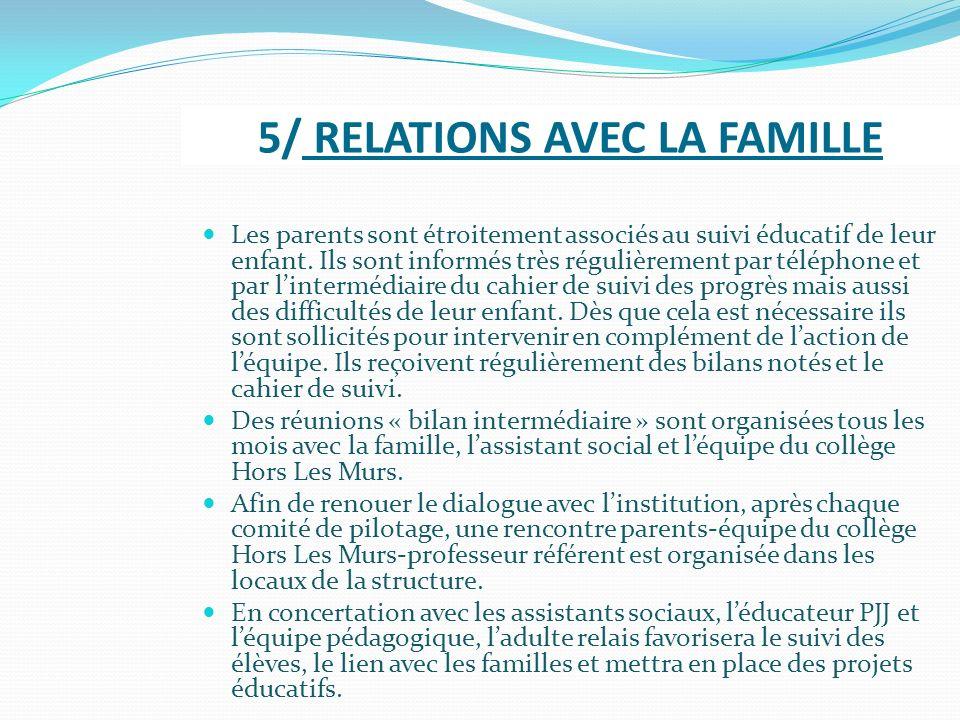 5/ RELATIONS AVEC LA FAMILLE