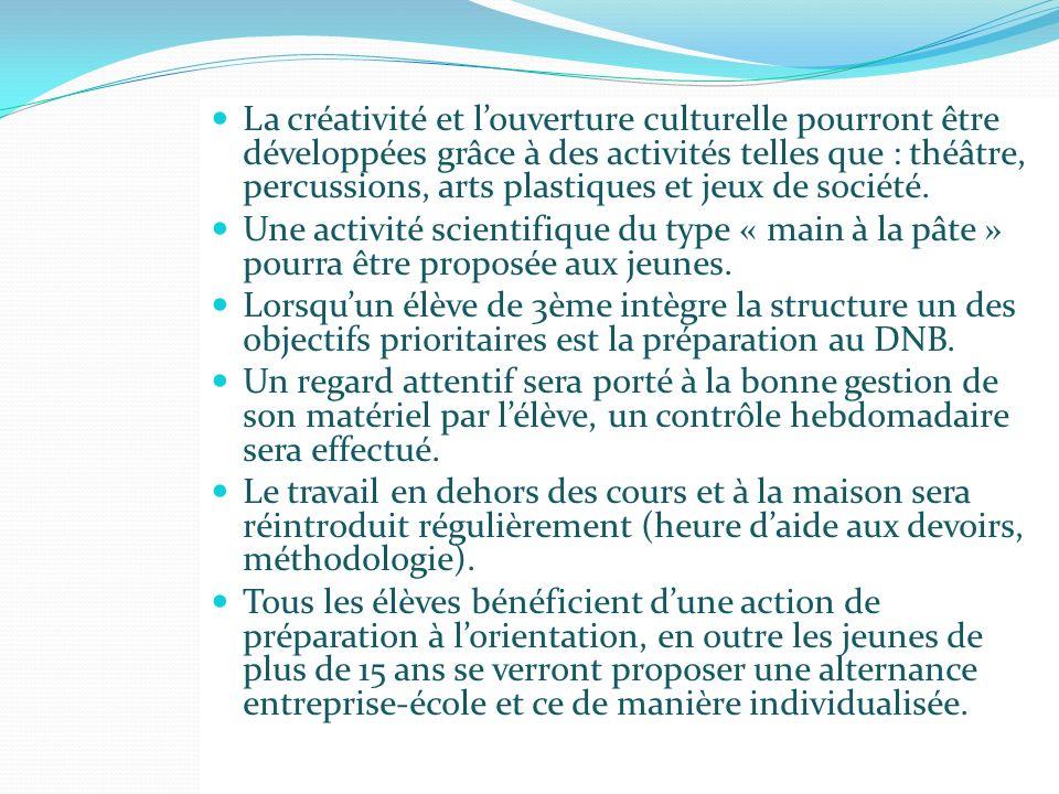 La créativité et l'ouverture culturelle pourront être développées grâce à des activités telles que : théâtre, percussions, arts plastiques et jeux de société.