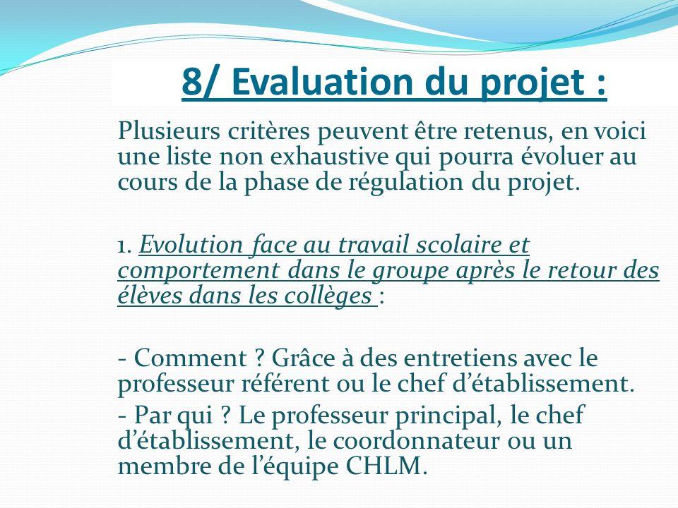 8/ Evaluation du projet :
