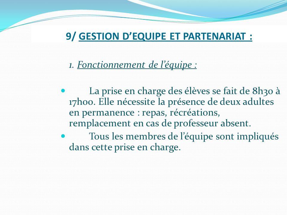 9/ GESTION D'EQUIPE ET PARTENARIAT :