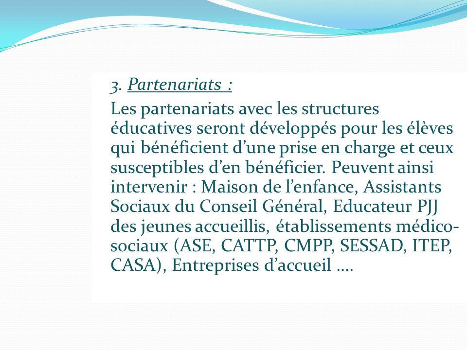 3. Partenariats :