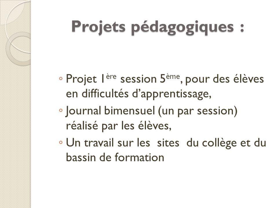 Projets pédagogiques :