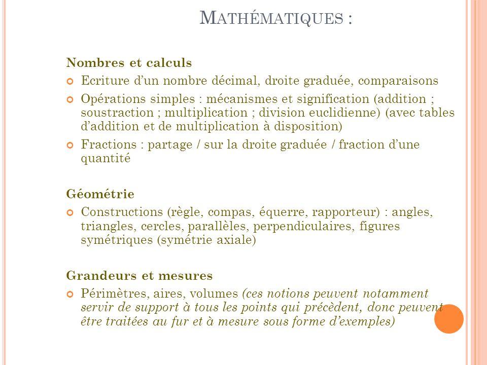 Mathématiques : Nombres et calculs