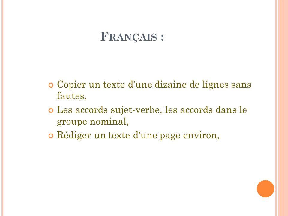 Français : Copier un texte d une dizaine de lignes sans fautes,
