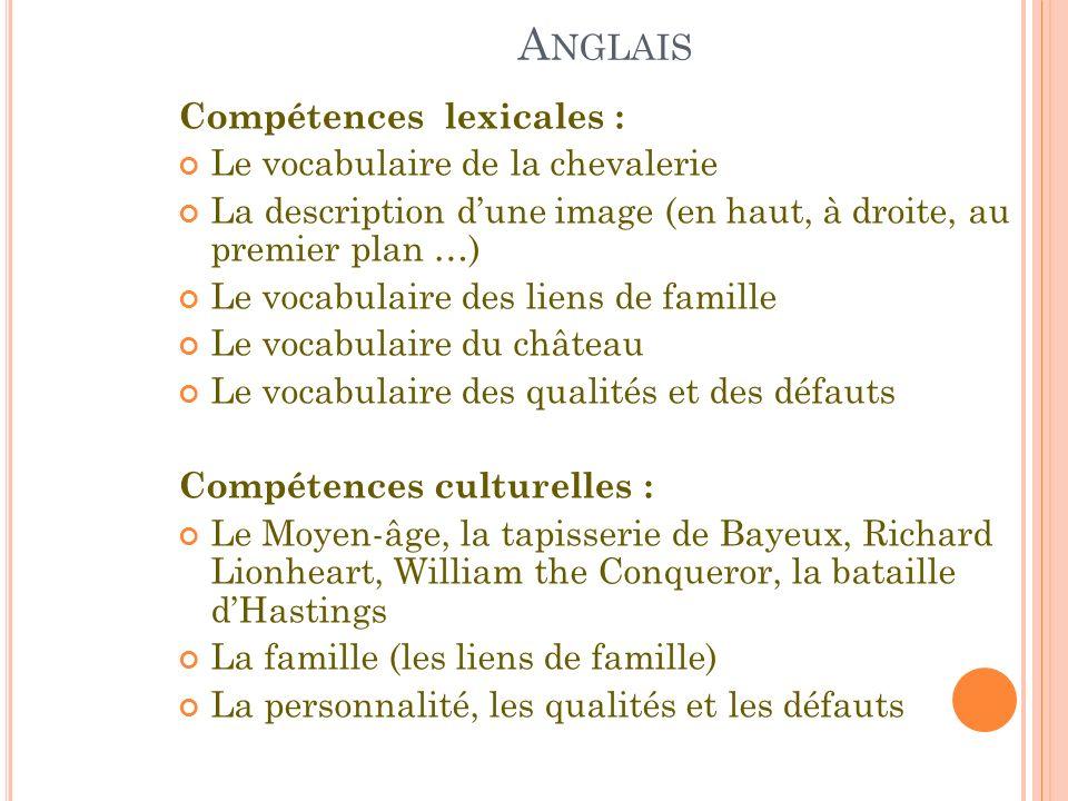 Anglais Compétences lexicales : Le vocabulaire de la chevalerie