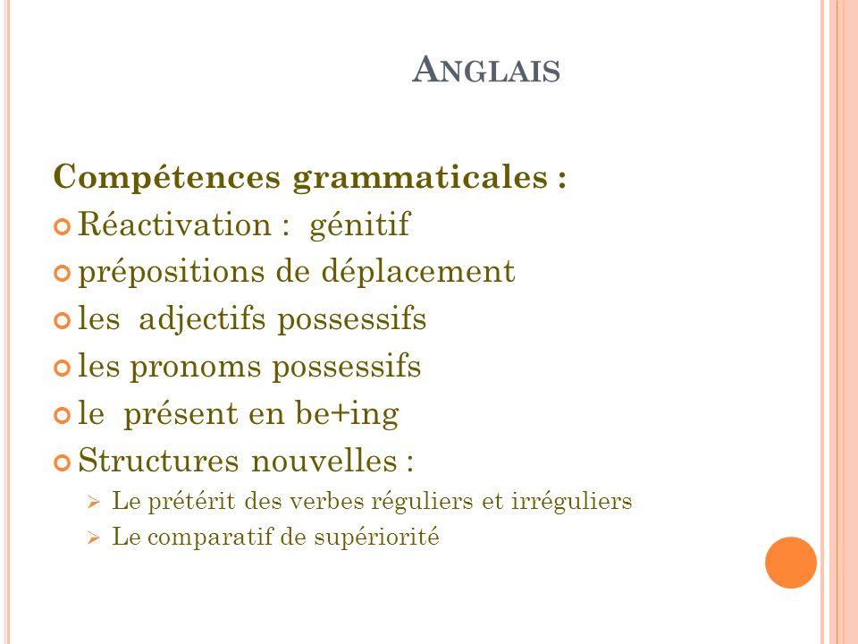 Anglais Compétences grammaticales : Réactivation : génitif