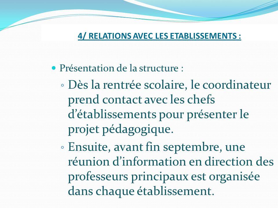4/ RELATIONS AVEC LES ETABLISSEMENTS :