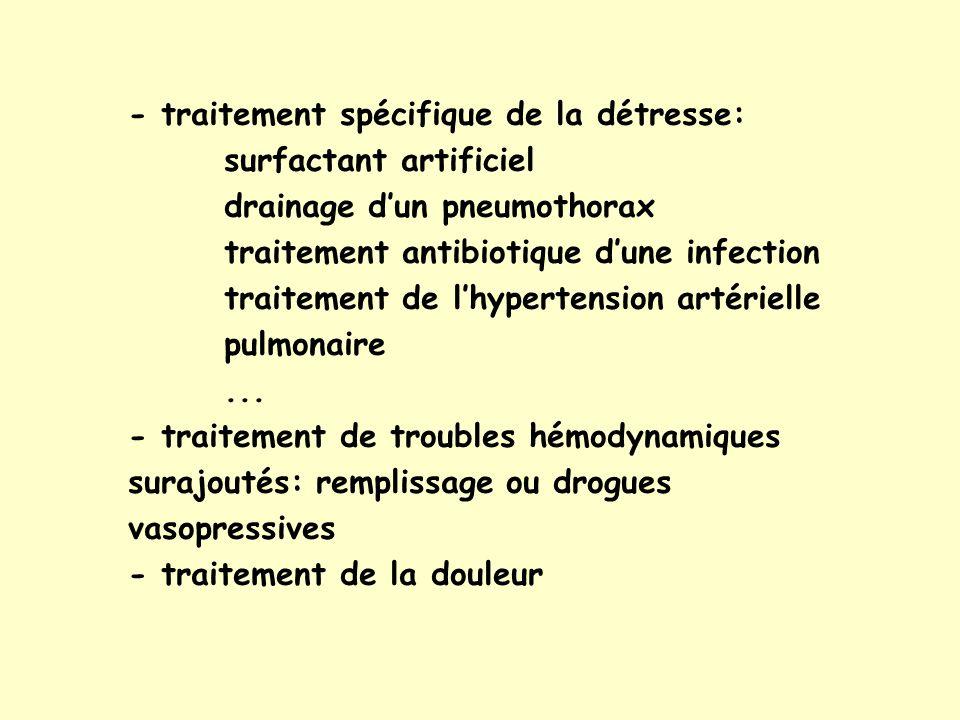 - traitement spécifique de la détresse: surfactant artificiel
