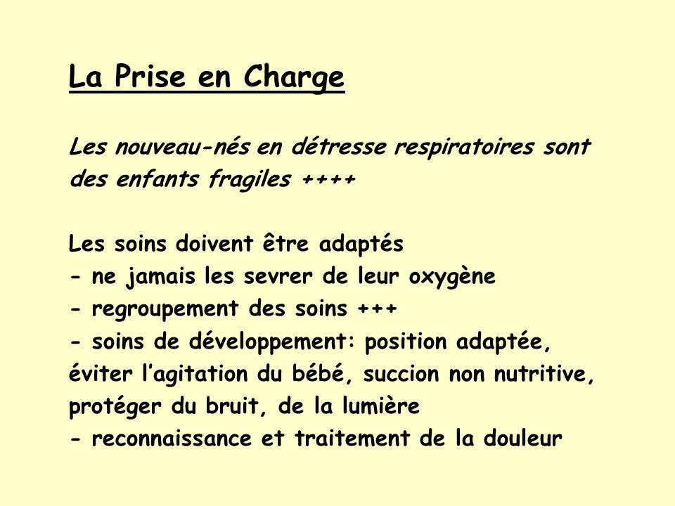 La Prise en ChargeLes nouveau-nés en détresse respiratoires sont des enfants fragiles ++++ Les soins doivent être adaptés.