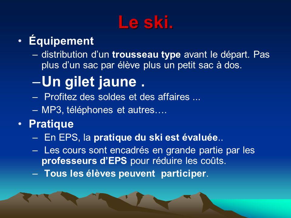 Le ski. Un gilet jaune . Équipement Pratique