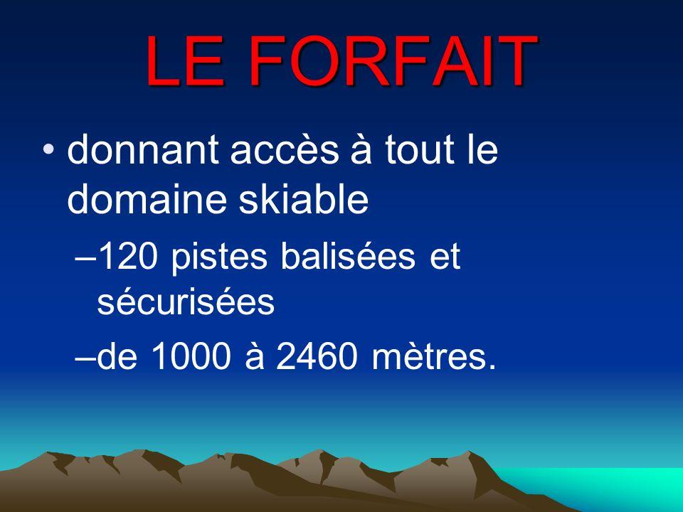 LE FORFAIT donnant accès à tout le domaine skiable