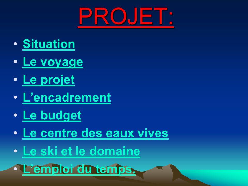 PROJET: Situation Le voyage Le projet L'encadrement Le budget