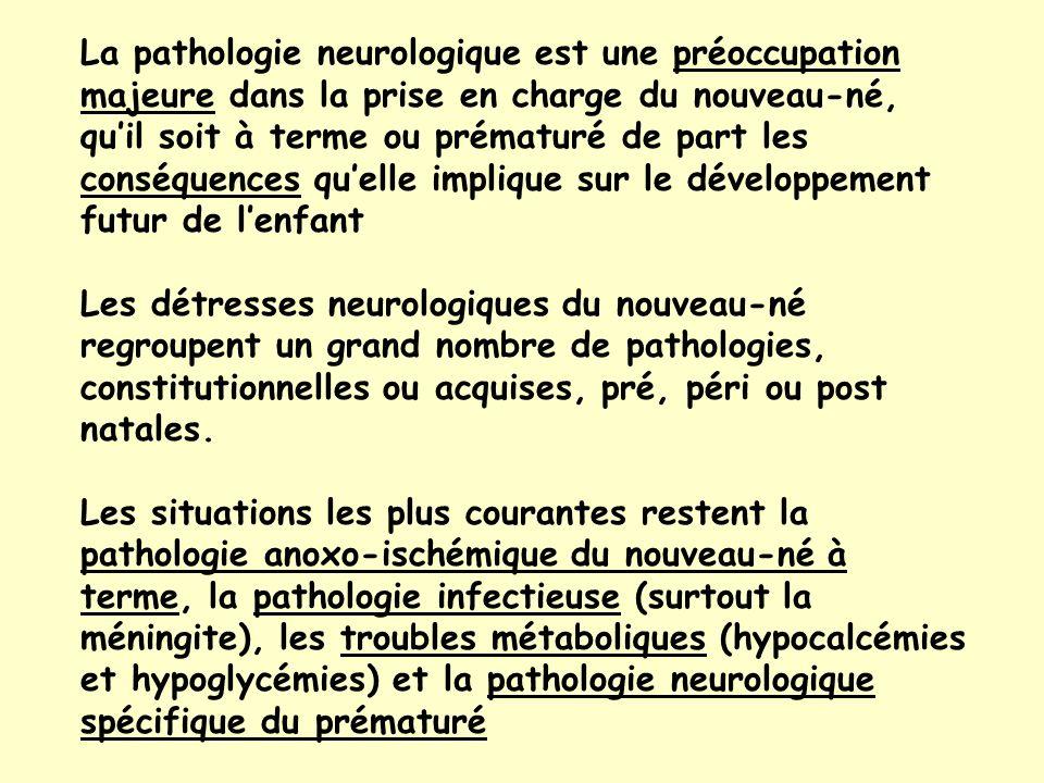 La pathologie neurologique est une préoccupation majeure dans la prise en charge du nouveau-né, qu'il soit à terme ou prématuré de part les conséquences qu'elle implique sur le développement futur de l'enfant