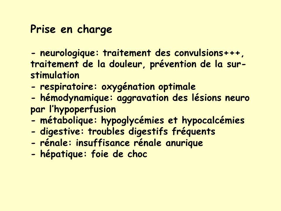 Prise en charge - neurologique: traitement des convulsions+++, traitement de la douleur, prévention de la sur-stimulation.