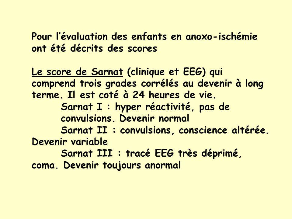 Pour l'évaluation des enfants en anoxo-ischémie ont été décrits des scores
