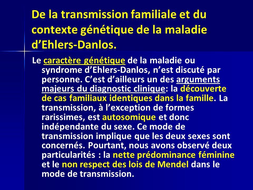 De la transmission familiale et du contexte génétique de la maladie d'Ehlers-Danlos.