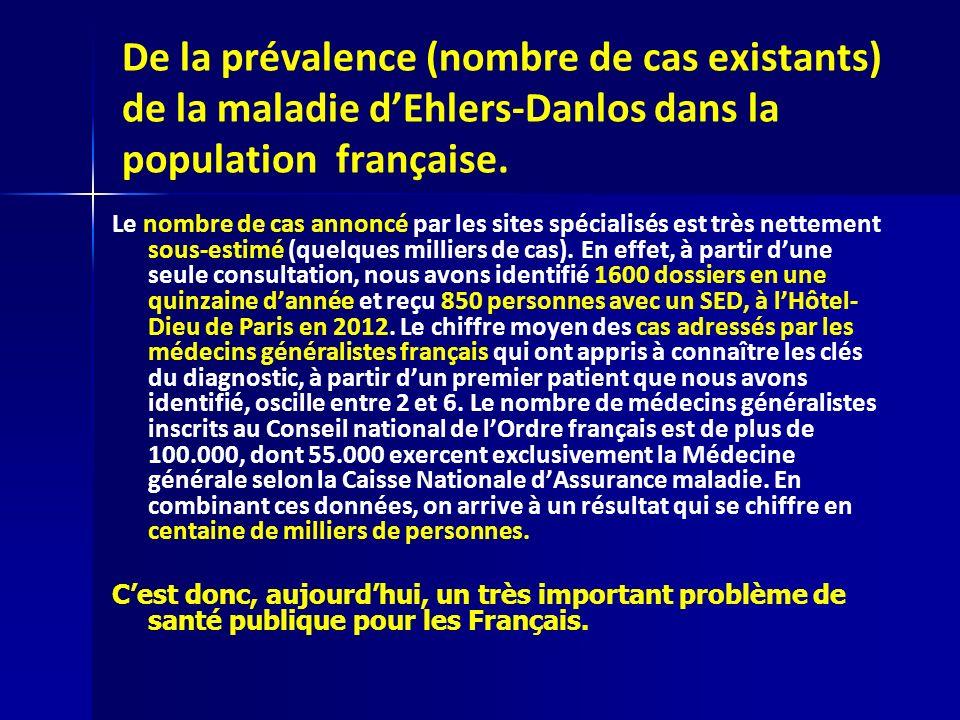 De la prévalence (nombre de cas existants) de la maladie d'Ehlers-Danlos dans la population française.