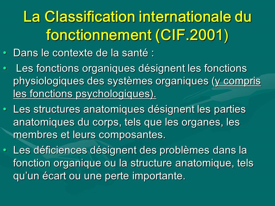La Classification internationale du fonctionnement (CIF.2001)
