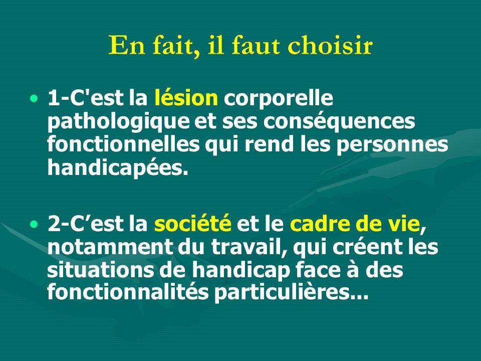 En fait, il faut choisir 1-C est la lésion corporelle pathologique et ses conséquences fonctionnelles qui rend les personnes handicapées.