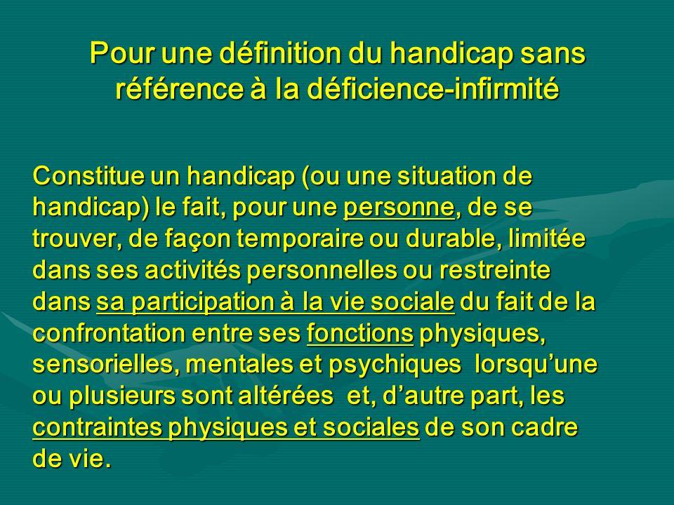 Pour une définition du handicap sans référence à la déficience-infirmité