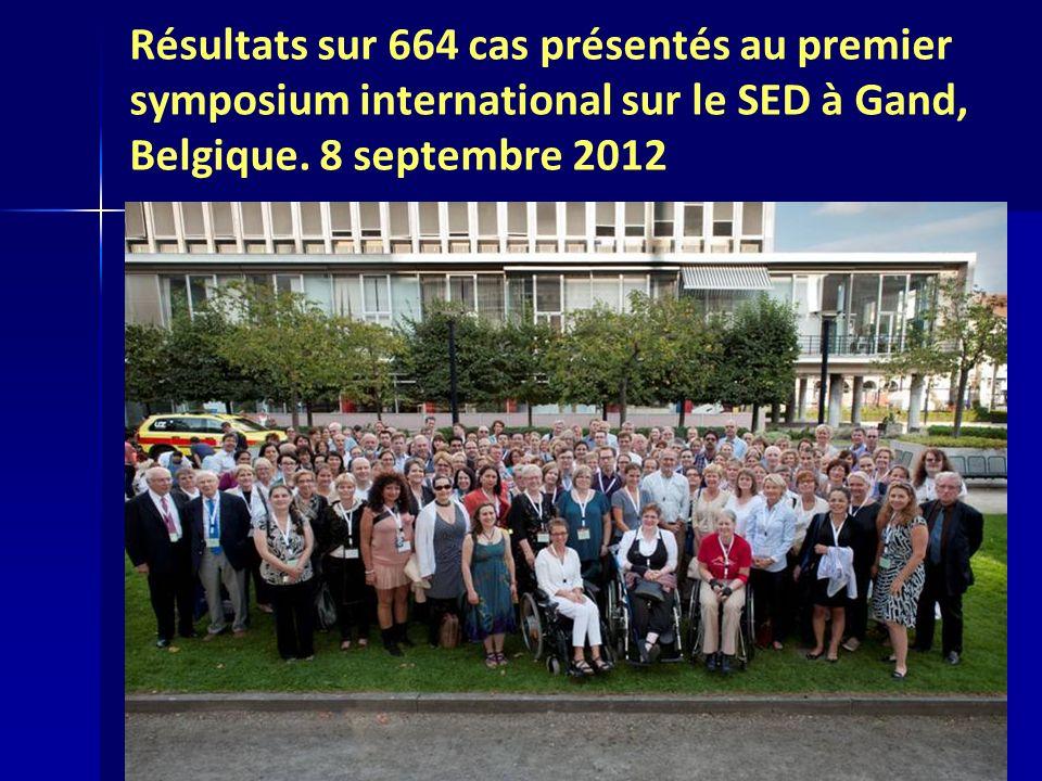 Résultats sur 664 cas présentés au premier symposium international sur le SED à Gand, Belgique.