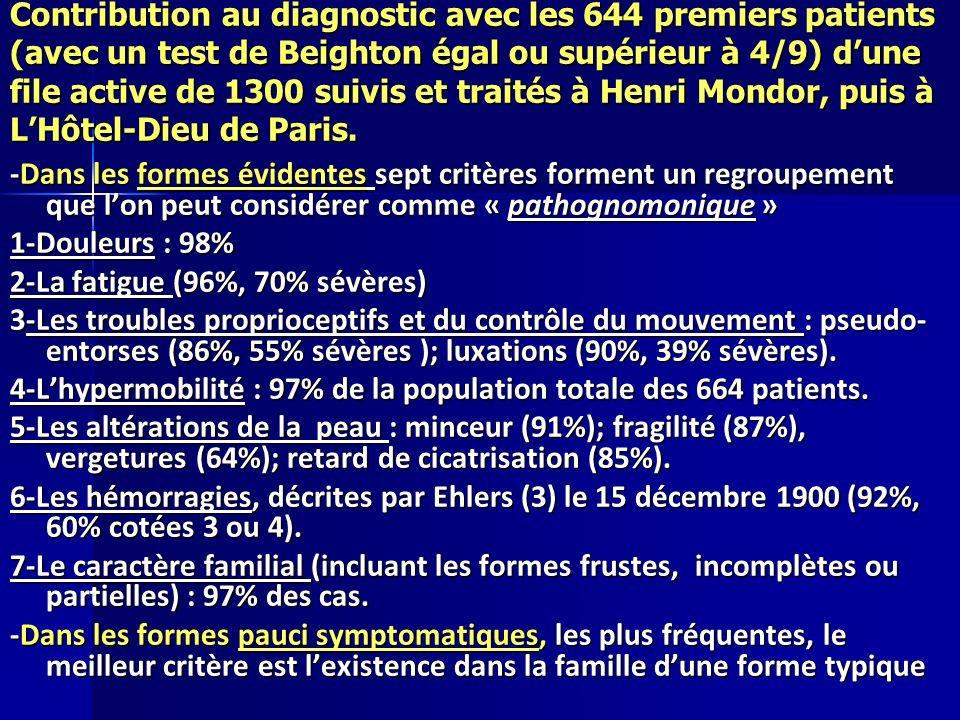 Contribution au diagnostic avec les 644 premiers patients (avec un test de Beighton égal ou supérieur à 4/9) d'une file active de 1300 suivis et traités à Henri Mondor, puis à L'Hôtel-Dieu de Paris.