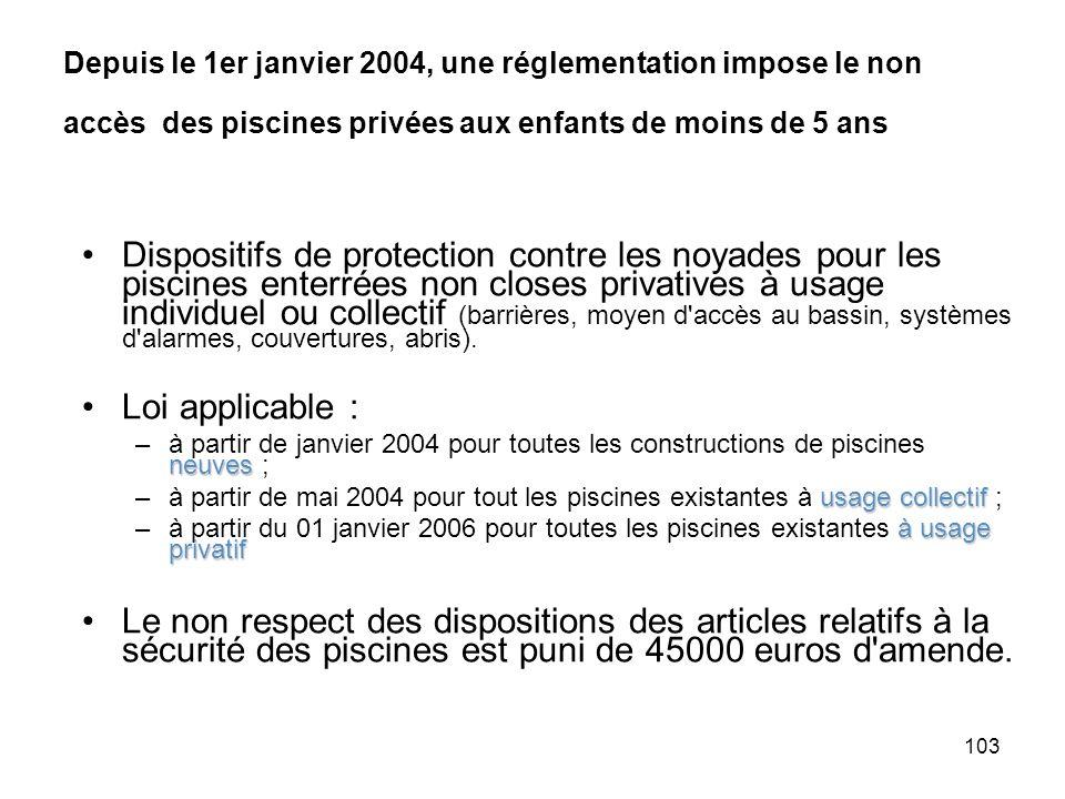 Depuis le 1er janvier 2004, une réglementation impose le non accès des piscines privées aux enfants de moins de 5 ans