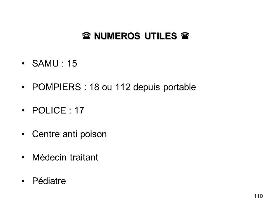  NUMEROS UTILES SAMU : 15. POMPIERS : 18 ou 112 depuis portable. POLICE : 17. Centre anti poison.