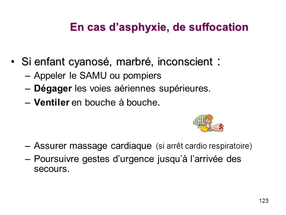 En cas d'asphyxie, de suffocation