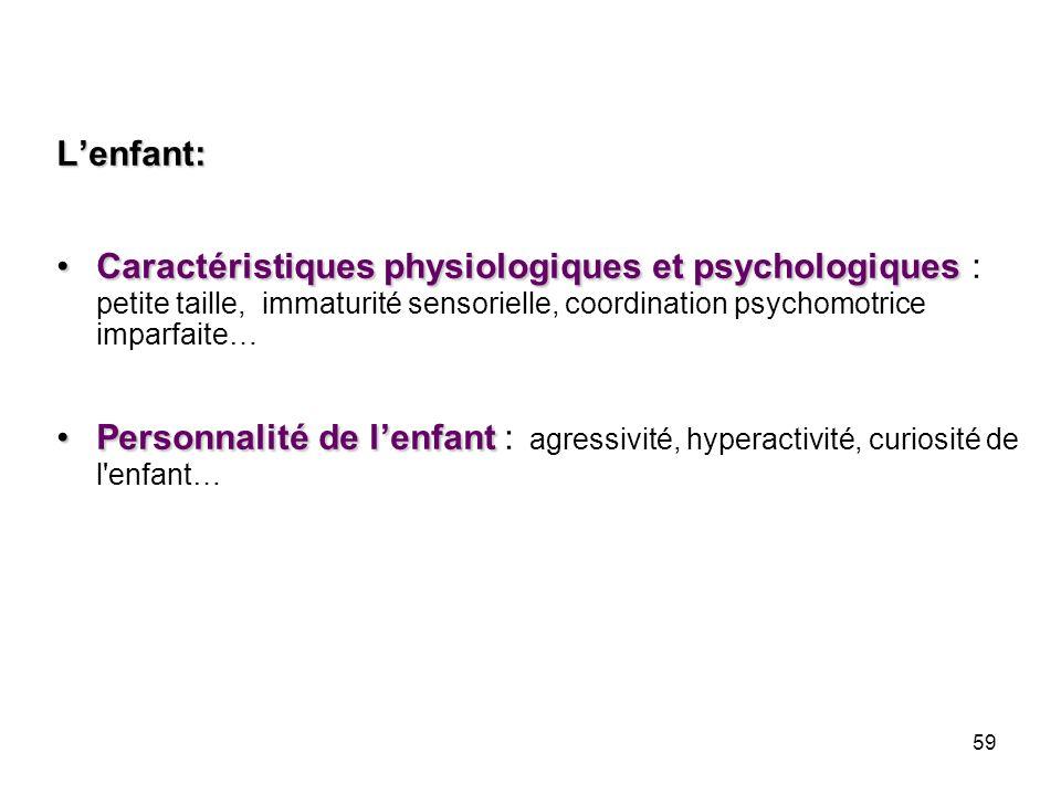 L'enfant:Caractéristiques physiologiques et psychologiques : petite taille, immaturité sensorielle, coordination psychomotrice imparfaite…