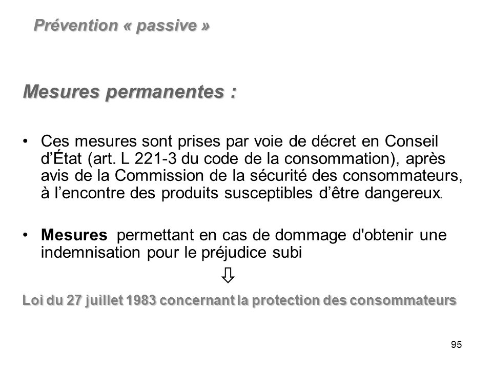 Mesures permanentes : Prévention « passive »