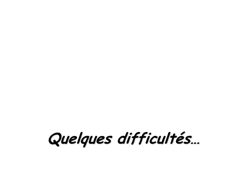 Quelques difficultés…
