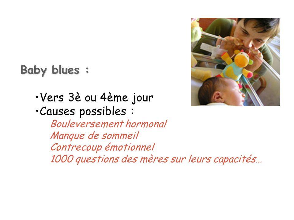 Baby blues : Vers 3è ou 4ème jour Causes possibles :