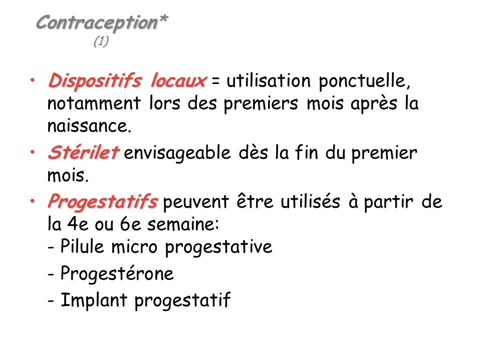 Contraception* (1) Dispositifs locaux = utilisation ponctuelle, notamment lors des premiers mois après la naissance.
