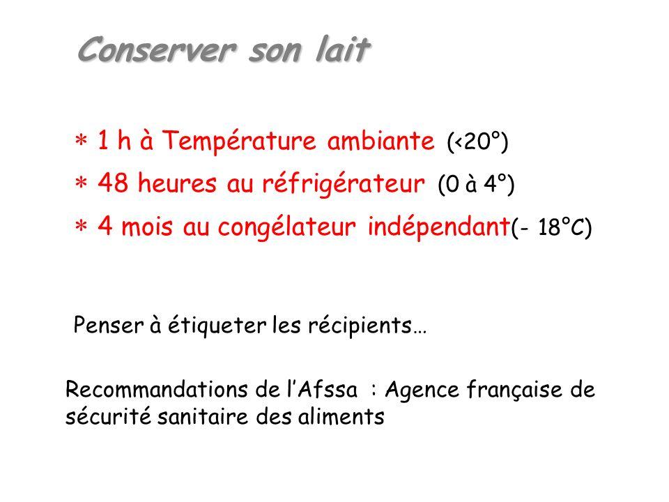 Conserver son lait  1 h à Température ambiante (<20°)