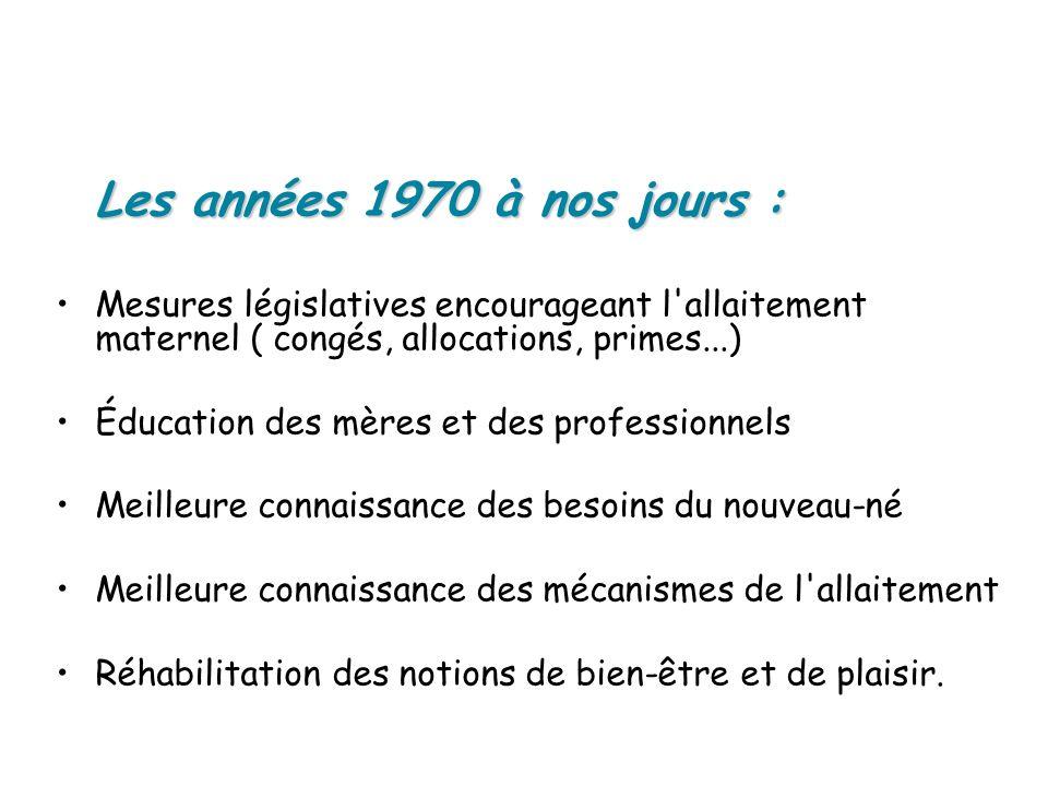 Les années 1970 à nos jours : Mesures législatives encourageant l allaitement maternel ( congés, allocations, primes...)