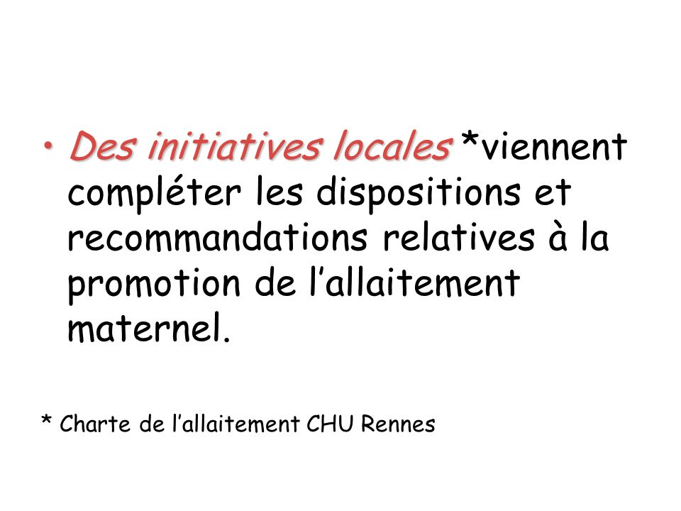 Des initiatives locales