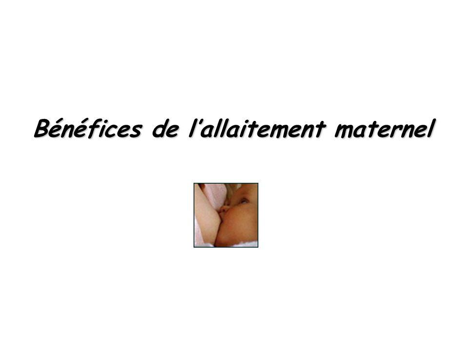 Bénéfices de l'allaitement maternel