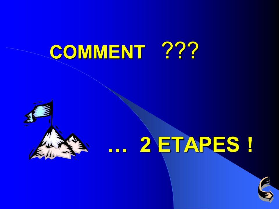 COMMENT … 2 ETAPES !