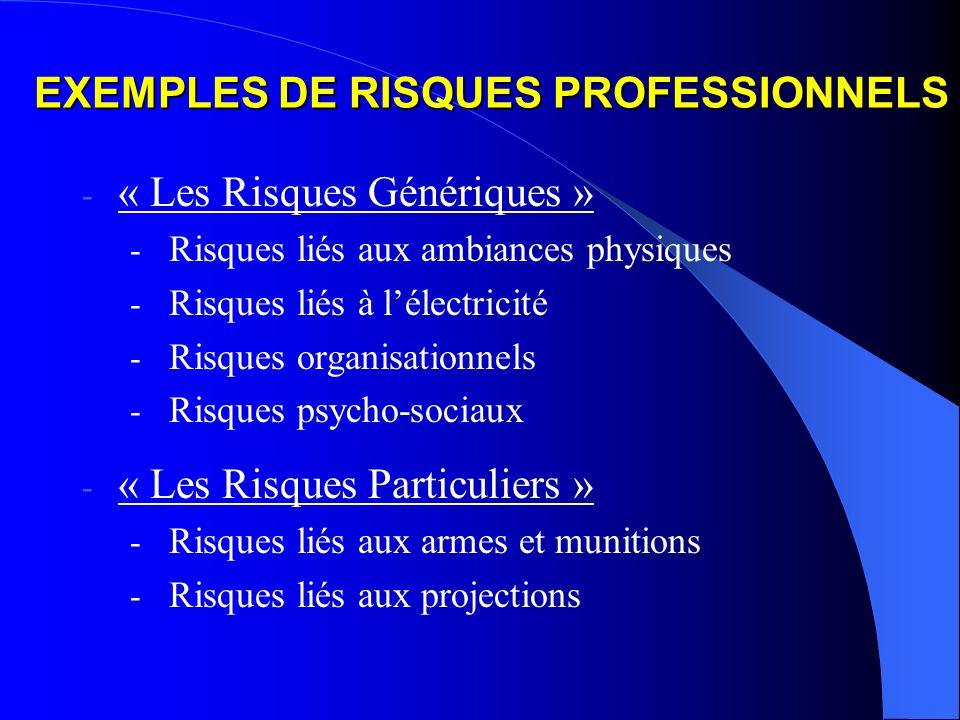 EXEMPLES DE RISQUES PROFESSIONNELS