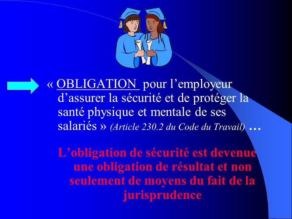 « OBLIGATION pour l'employeur d'assurer la sécurité et de protéger la santé physique et mentale de ses salariés » (Article 230.2 du Code du Travail) …
