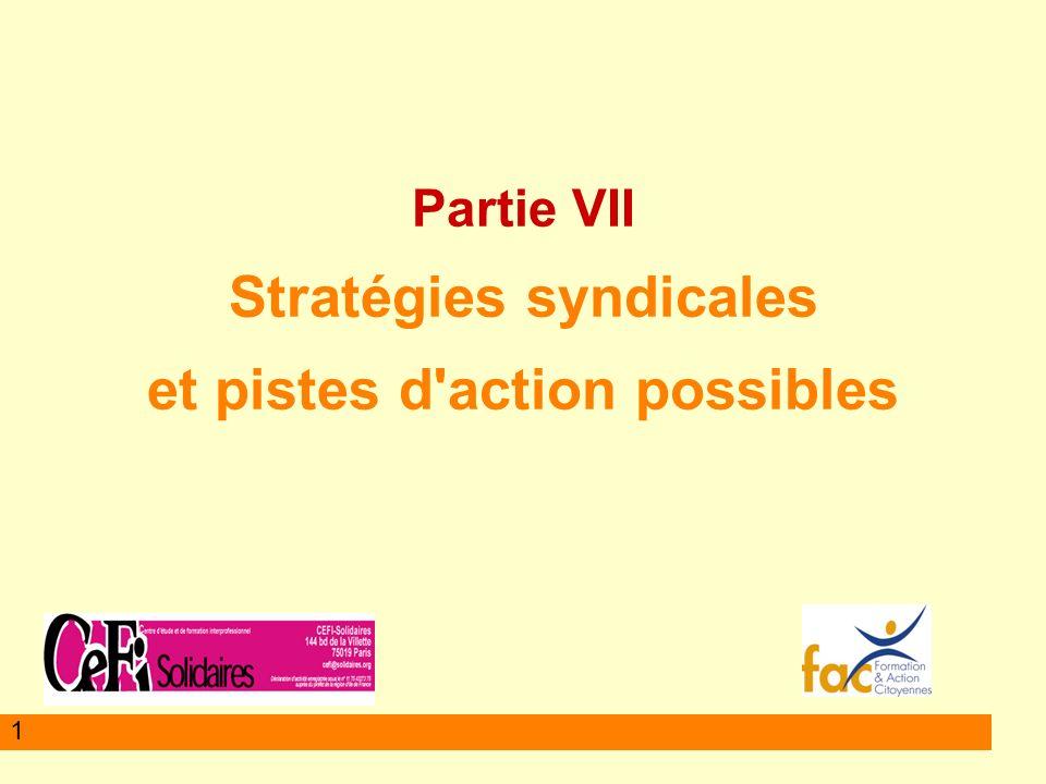 Partie VII Stratégies syndicales et pistes d action possibles