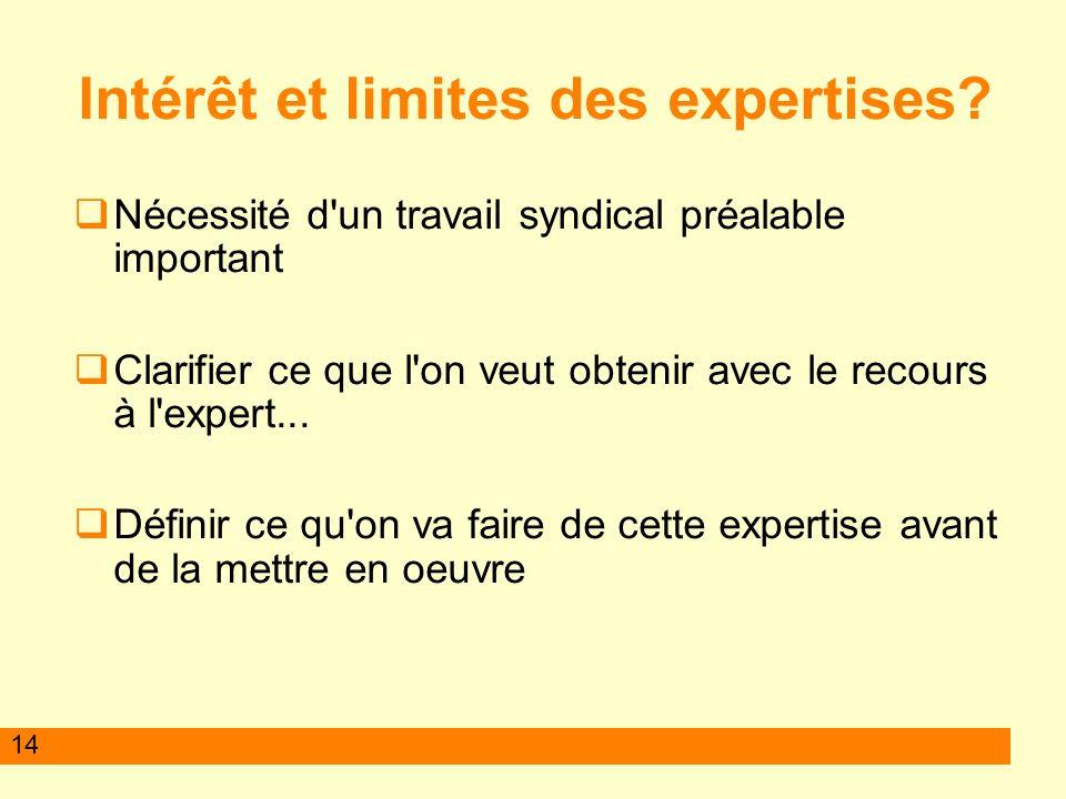 Intérêt et limites des expertises