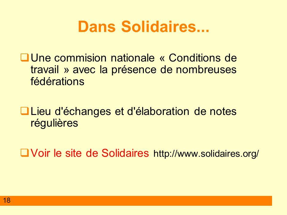 Dans Solidaires... Une commision nationale « Conditions de travail » avec la présence de nombreuses fédérations.