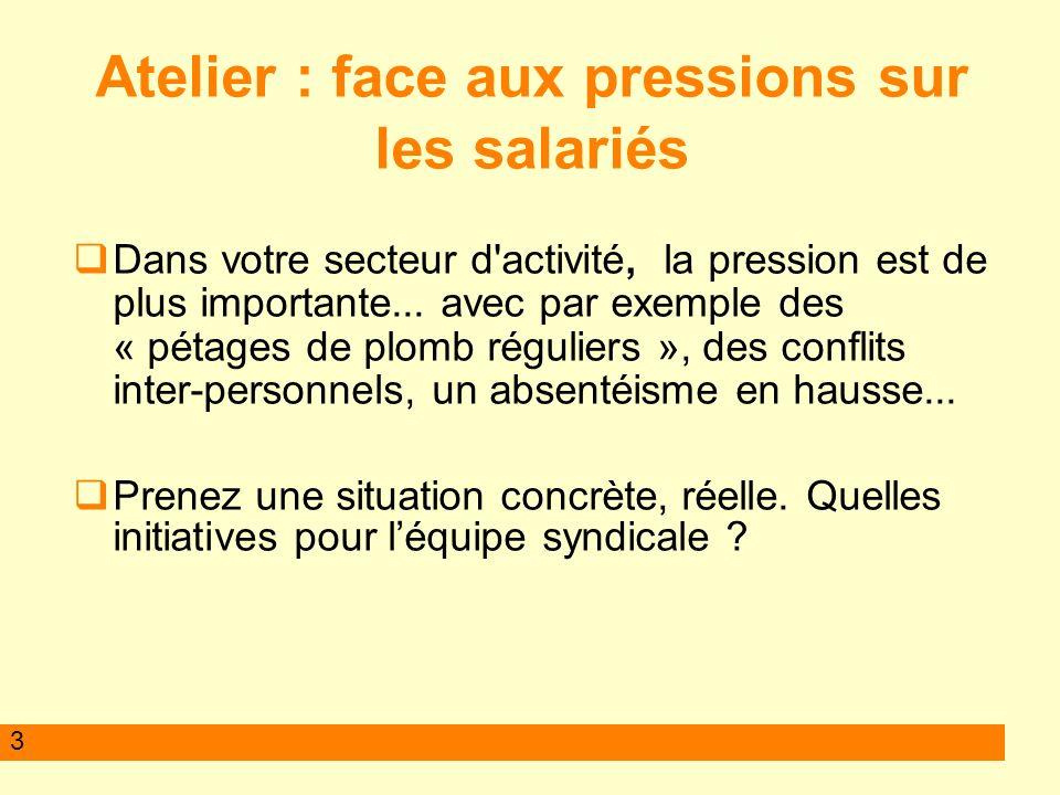 Atelier : face aux pressions sur les salariés