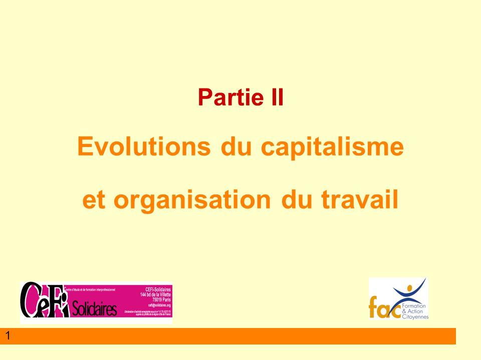 Partie II Evolutions du capitalisme et organisation du travail