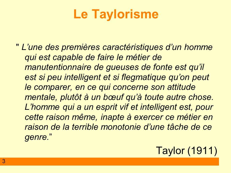 Le Taylorisme Taylor (1911)